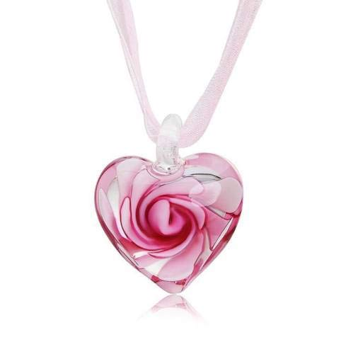 (Jewelryamintra Murano Glass Heart Spiral Flower Inlaid Pendant 28mm Ribbon Necklace Jewelry )
