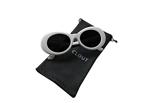 Clout Goggles and Clout Case HypeBeast Oval Sunglasses Mod Style Kurt Cobain (White)