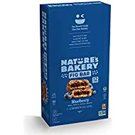 Nature's Bakery Whole Wheat Fig Bars, Blueberry, Real Fruit, Vegan, Non-GMO, Snack bar, 1 box with 12 twin packs (12 twin packs)