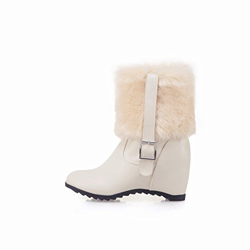 Latasa Inside Velvet Beige Faux Cold Short Boots weather Thick Womens Fur qawB7rHq