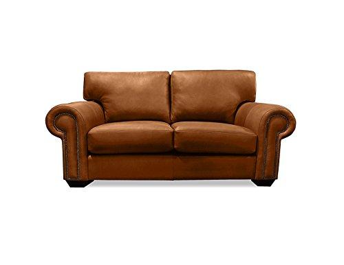 South Cone Home Ireland Leather Sofa, 72″, Caramel