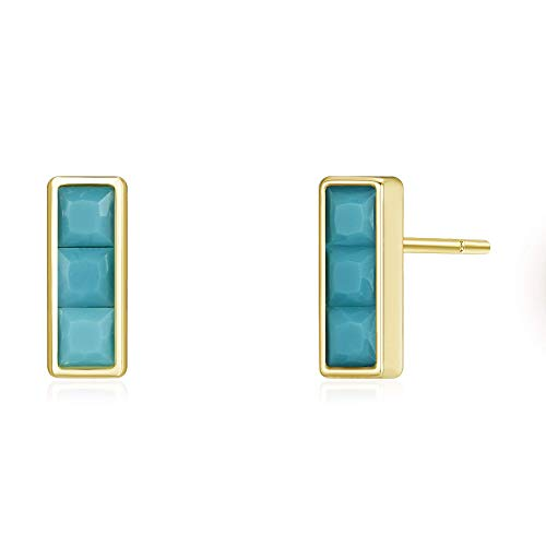 Agvana Yellow Gold Filled Rectangle Stud Earrings Setting Three Synthetic Turquoise Ideal Gifts For Women Girls, Size ()