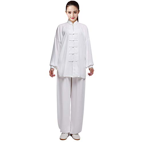 KIKIGOAL Unisex Chinese Traditional Martial Arts Tai Chi Uniform Kung Fu Clothing Wushu Suit For Men and Women (XXXL, - Fu Uniform Kung Button White