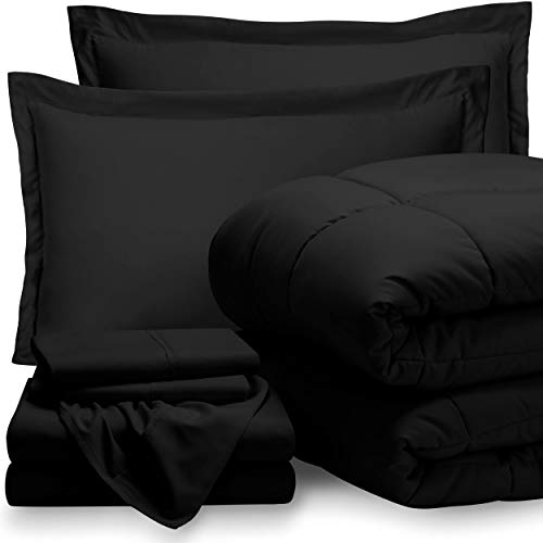 Bare Home Bed-in-A-Bag 7 Piece Comforter & Sheet Set – Queen – Goose Down Alternative – Ultra-Soft 1800 Premium – Hypoallergenic – Breathable Bedding Set (Queen, Black/Black)