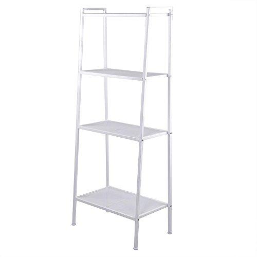 GJH One Metal Bookcase Storage Shelving Bookshelf Wall Ladder Shelf Display Rack 4-Shelf (White)