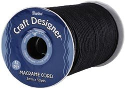 Bulk Buy: Darice Craft Designer Macrame Cord 3mm X 32Ply X 50 Yards Black 1971-17 (2-Pack)