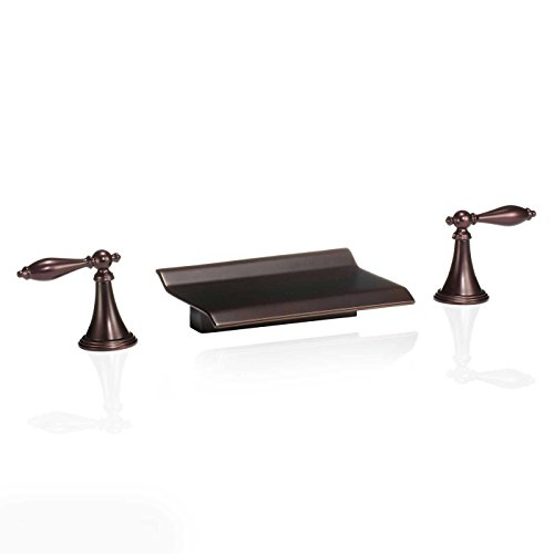 FREUER Scaffale Collection: Widespread Waterfall Bathroom Sink Faucet in Oil Rubbed Bronze