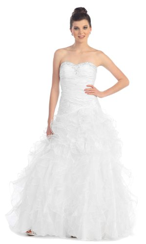 Strapless Layered Ruffle Prom Dress Long Wedding Gown #778 (4, White)