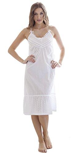 Cotton Real Damen Nachthemd weiß weiß
