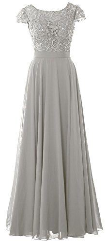 MACloth Women Cap Sleeve Mother of the Bride Dress Lace Long Evening Formal Gown (20w, Silver)