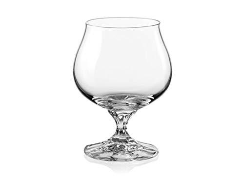 Bohemia Crystal,''Diana'', Crystal Brandy/Cognac Glasses, Set of 6, Clear, 8.45 ounces by Bohemia Crystal