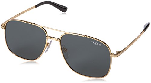 VOGUE Women's Metal Woman Rectangular Sunglasses, Gold, 55.02 - Gold Gigi
