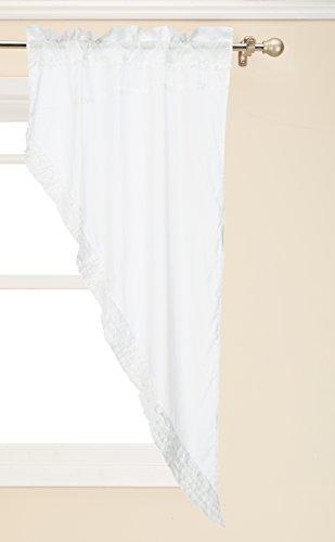 VHC Brands White Ruffled Sheer 8607 Prairie Curtain (Ruffled Swag Valance)
