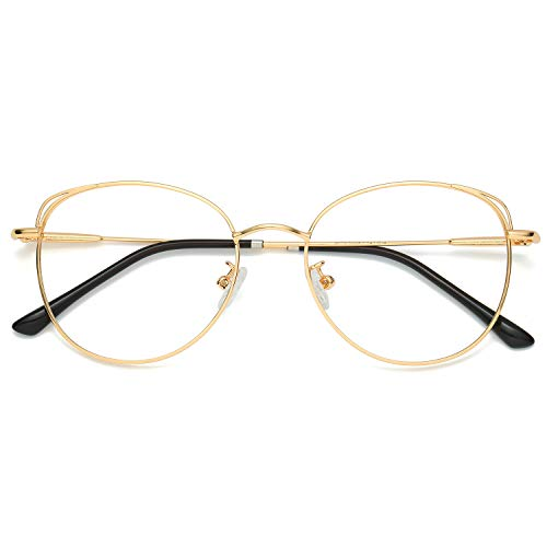 SOJOS Cat Eye Blue Light Blocking Glasses Hipster Metal Frame Women Eyeglasses She Young with Gold Frame/Anti-blue light Lens