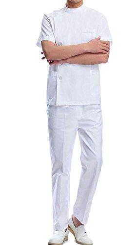 Neutral Medical Scrub Suit Doctors Nurse Hospital Uniform Set Top + Pants (White for Men, M) - Medical Scrub Suit