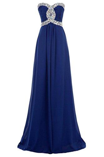 Lange CoutureBridal® Abendkleider Kristall Trägerlos Herzform Chiffon Königsblau Brautjungferkleid g88wq71