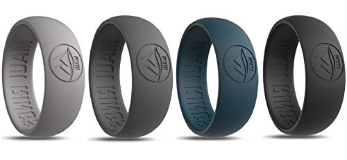 MAUI RINGS Men's Silicone Wedding Rings Breathable Comfortable Attractive Rubber Band Safe for Sports Work Fitness Thin 8 Colors Precious Metal Look (Black/Deep Ocean Blue/Dark Gray/Gray, 11)