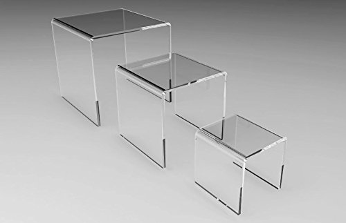 FixtureDisplays Set of 3 Clear Acrylic Display Riser (2'', 3'', 4'' ) Jewelry Showcase Fixtures 13164-234 13164-234! by FixtureDisplays (Image #1)