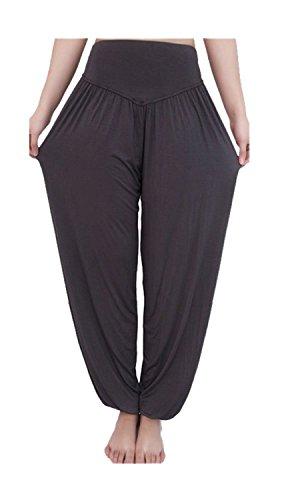 Lounge Ash Pants - ARJOSA Women's Cotton Spandex Wide Leg Lounge Harem Yoga Pants (XL, Ash Gray)