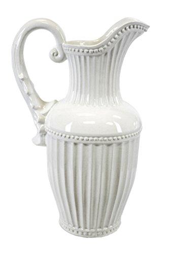 Sagebrook Home 11629 Decorative Pitcher, White Ceramic, 10 x 10 x 16 Inches