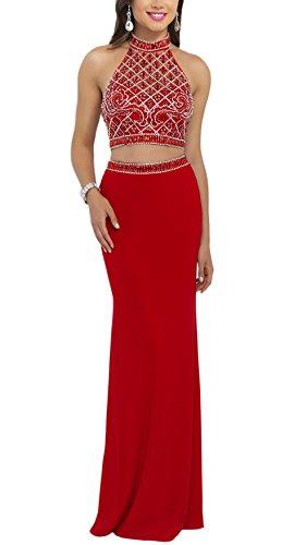 Bridal_Mall - Robe - Cocktail - Sans Manche - Femme -  Rouge - 36