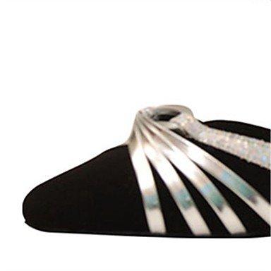 RUGAI-UE Woherren Dance Schuhe Sandalen FlockingLatin Fersen Ferse Ferse Ferse Professional innen Schwarz anpassbar 1 1 2  (4 cm) Dicke Ferse Schwarz Uns 4-4.5 EU 34  UK 2-2.5 CN33 f5ddf4