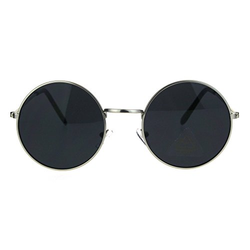 SA106 Retro Vintage Flat Color Circle Round Lens Sunglasses (silver black, - Glasses Round Red