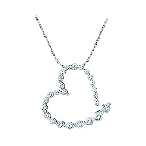 Roy Rose Jewelry 14K White Gold Ladies Diamond Graduated Heart Journey Pendant 1-Carat tw