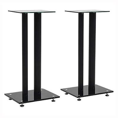 HomyDelight Speaker Stand & Mount, Speaker Stands 2 pcs Tempered Glass 2 Pillars Design Black