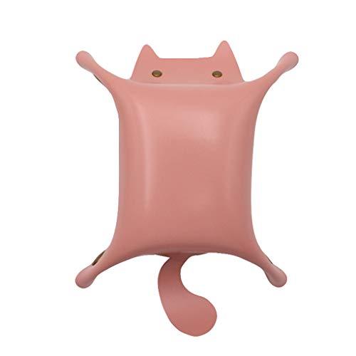 YJYdadaS Leather Valet Tray Nightstand Desktop Dresser Organizer Jewelry Box (Pink)