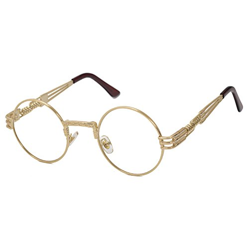 Pro Acme John Lennon Metal Spring Frame Round Steampunk Clear Lens Glasses (Gold Frame/Clear - Arm Glasses Length