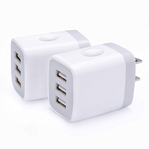 3-Port USB Travel Wall Charger 5V/3.1A USB Plug Power Adapter, USB Brick Charger CIQILY 2Pack Multi USB Phone Charging Cube Station Box Base for iPhone X 8 7 6 6S Plus 5S 5 SE 4S, iPad, iPod, Samsung