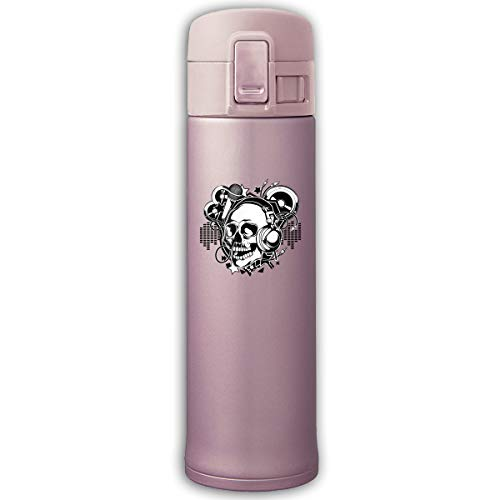 Stainless Steel Mug Skull Microphone Bouncing Cover Insulation Vacuum Cup Bottle Thermos Mug Pink