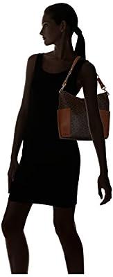 Calvin Klein Hudson Side Pocket Monogram Hobo, Brown/Khaki/Luggage Saffiano