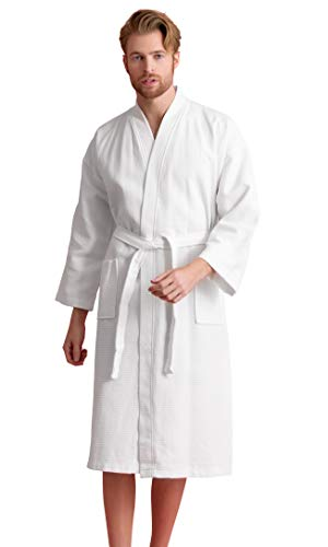 Waffle Mens Robe - Men's Robe, 100% Turkish Cotton Long Waffle Spa Bathrobe, Diamond Pattern (XX-Large, White)
