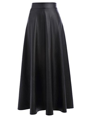 Women High Waist Midi Long Skater Skirt A-line Size L Black KK600-1