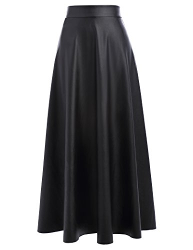 - Women Midi Long Swing Skirt A-Line PU Leather for Women Size S Black