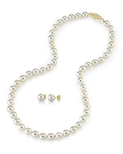 THE PEARL SOURCE 14K Gold 7.5-8mm Round White Akoya Cultured Pearl Necklace & Earrings Set in 18