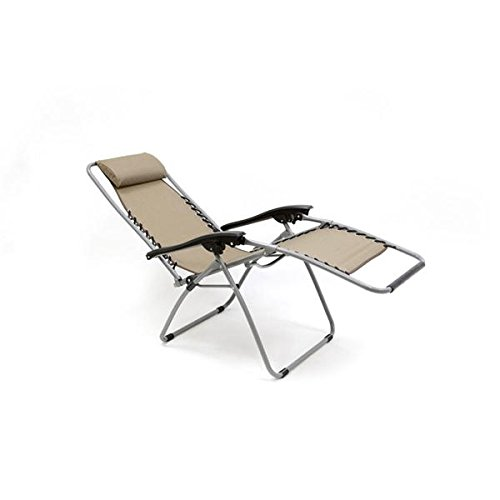 Multi - Positional Lounger, Powder-coated Steel Frame, Polyester Fabric, Folds to 37.5 X 5.8 X 25.2, 225 Lb Weight Capacity, Beige.