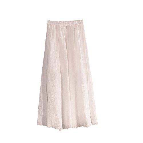 MISSMAO Jupe Femme Longue Casual Jupe Plisse Confortable pour Quotidien Porter Danse Voyager lastique Blanc