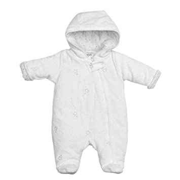 81d9733d4 Cute Baby Star Pattern White Velour Snowsuit By Babytown - Size 3-6 Months:  Amazon.co.uk: Baby