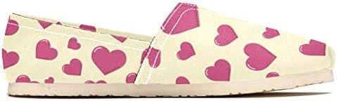 TIZORAX - Mocassini da donna, con cuori, colore rosa, comodi, casual, in tela