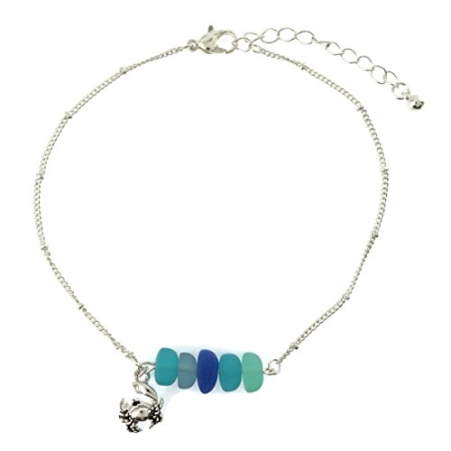 Crab Charm Sea Glass Beads Sealife Anklet