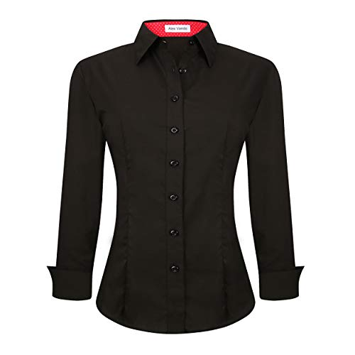 Alex Vando Womens Dress Shirts Regular Fit Long Sleeve Cotton Stretch Work Shirt,Black,M ()