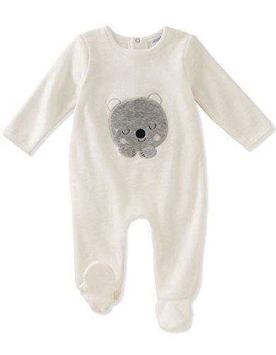 absorba Baby Velour Footie-Unisex, Silent Vanilla, 3-6 Months