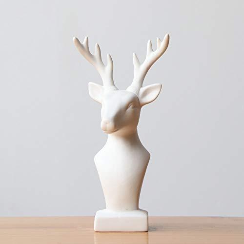 TLLDX Figurine Figurines Statue Statues Statuettesculpture Christmas Deer Head Figurine Ceramic Elk Statue Sculpture Reindeer Christmas Ornaments Festival Gift Home - Antique Figurine Porcelain