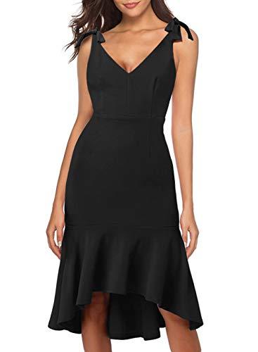 Women Sexy Summer Sleeveless Deep V Neck Tie Straps Shoulder Sheath Trumpet Midi Casual to Wear to a Wedding Guest Dress for Lady 947 (XL, Black)