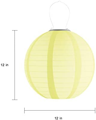Pure Garden 50-LG1007 Chinese Lanterns Fabric Lamps with Solar Powered LED Bulbs and Hanging Hooks-Perfect for Patio, Trees, or Porch 3 Pack-Multi