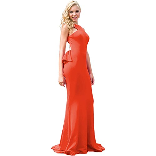 Jovani Cascade Ruffle Open Back Formal Dress Orange 4 ()