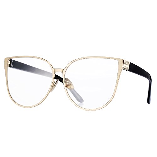 57e6492aff Pro Acme New Fashion Oversized Cat Eye Flat Lens Clear Glasses Frame for  Women (Baby